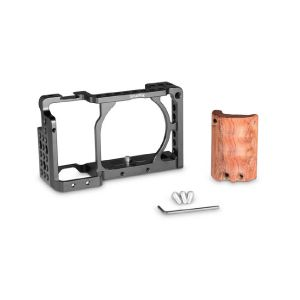 Picture of SmallRig 2082 Cage with Wooden Handgrip for Sony a6000/a6300